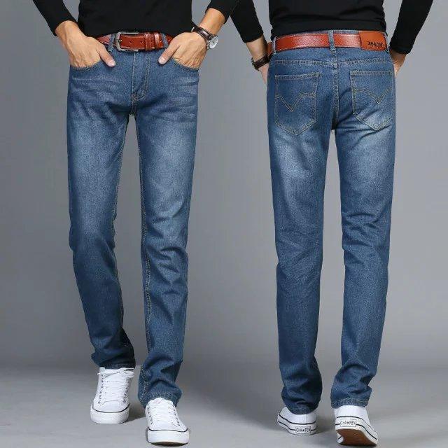 Summer Thin Section Versatile Trend Jeans Men Slim Black Casual Loose Straight Popular Brand Men's Dad Pants