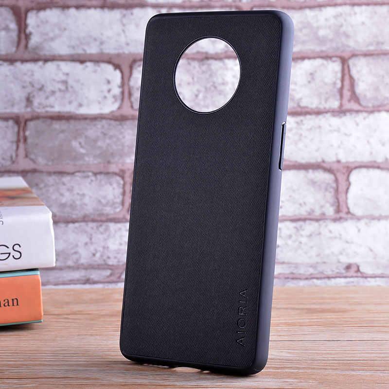 Ốp Lưng Cho OnePlus 7 6 6T 7T Pro Coque Sang Trọng Dệt Da Da Mềm TPU Cứng Máy Tính Điện Thoại bao Da Cho Oneplus 7 7T 6 Ốp Lưng Funda CapA