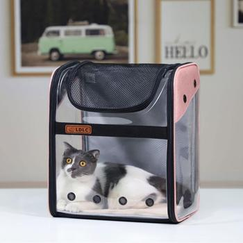 PVC Transparent Cat Carrier Backpack Dog Breathable Bag Capsule Cat Bag Pet Travelling Portable Bag Folding Cats Shoulder Bags