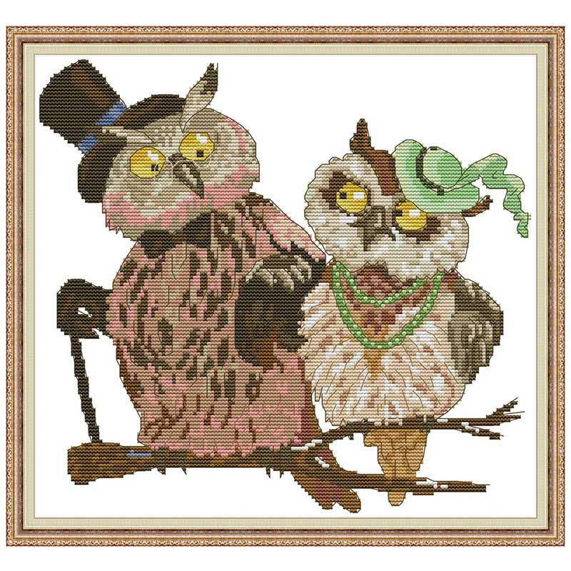 Counted Cross Stitch Kit Owl DIY Unprinted canvas