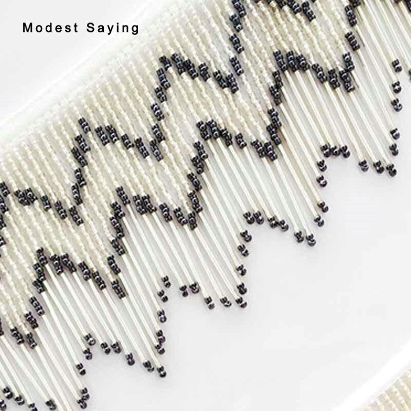 5 Yards Black And Silver 11cm Beaded Fringe Trim Ribbon Wave Tassel Fringe Trimming Latin Dress Evening Garment Accessories
