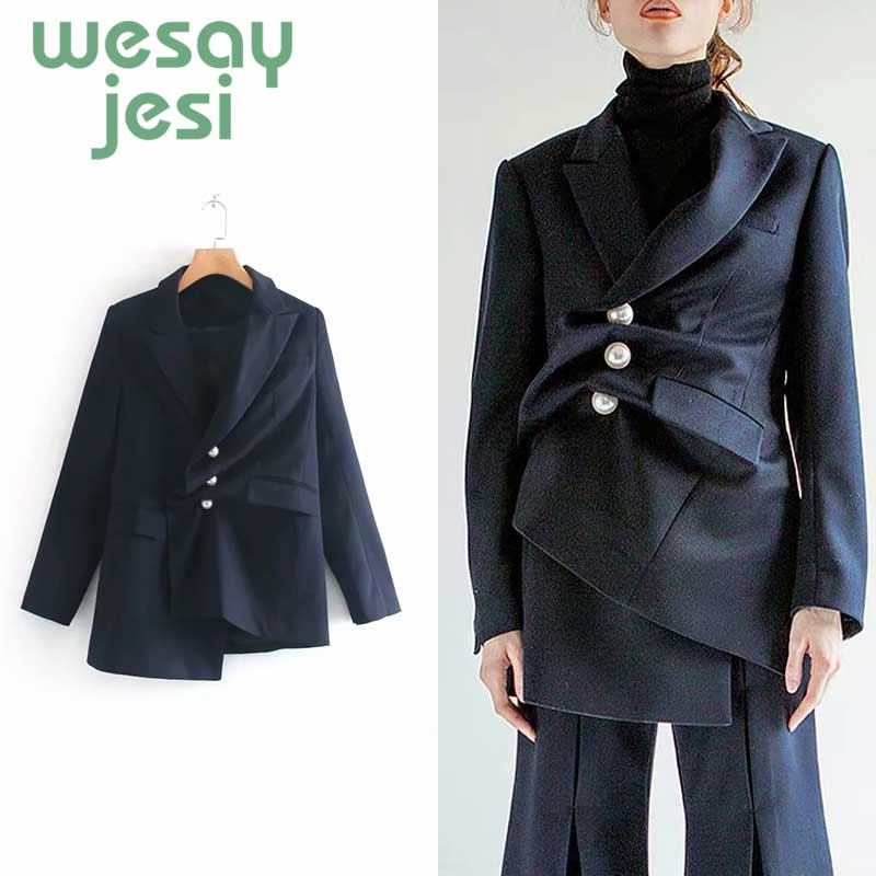 Women Blazer Vintage Asymmetry chic Workwear Pockets Jackets Female Retro Suits casual Coat Streetwear women
