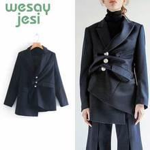 Women Blazer Vintage Asymmetry chic Workwear Pockets Jackets Female Retro Suits casual Coat Streetwear women