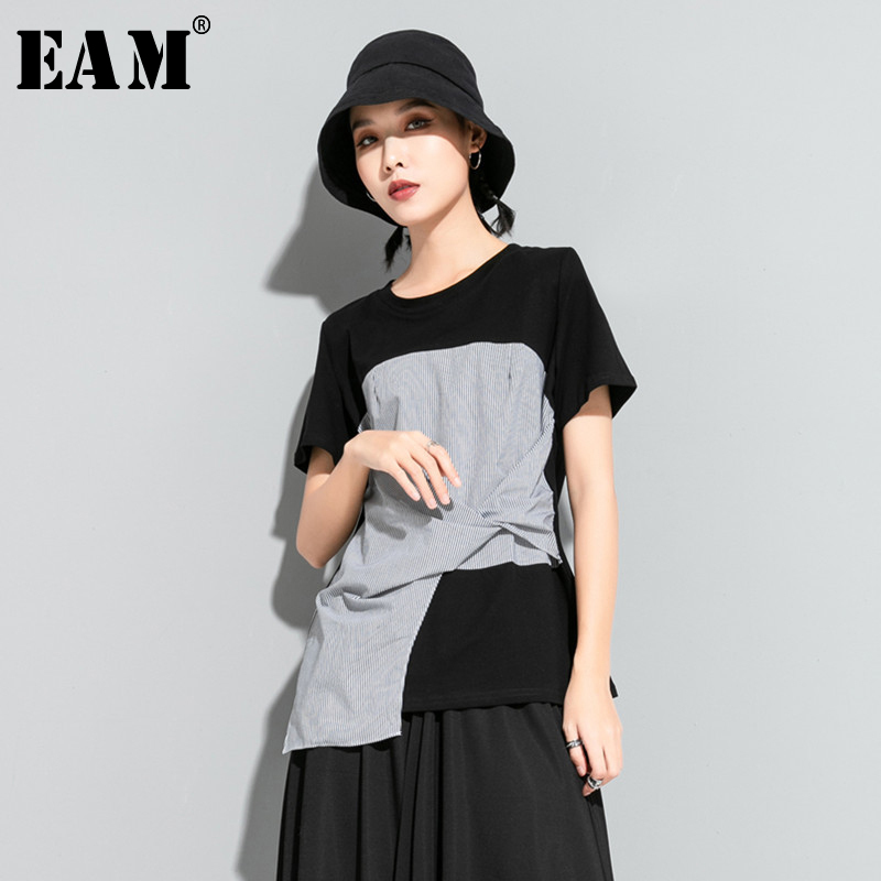 [EAM] Women Black Striped Knot Split Joint Irregular T-shirt New Round Neck Short Sleeve Fashion Tide Spring Summer 2020 1U627 1