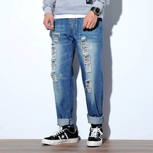 Fashion Streetwear Mens Jeans Vintage Blue Hole Loose Destroyed Ripped Broken Punk Pants Homme Hip Hop Men