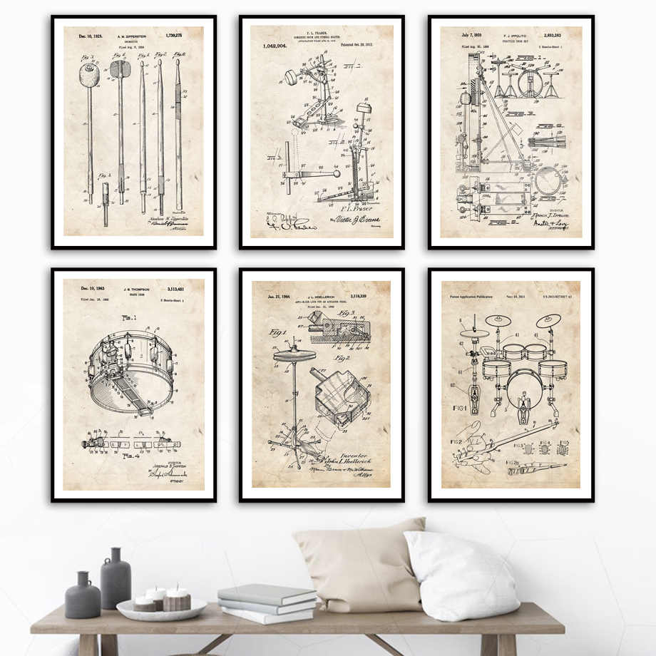 nordic vintage poster trommel kit patent zeichnungen wand kunstdruck leinwand malerei schlagzeuger dekoration bilder fur wohnzimmer musik zimmer