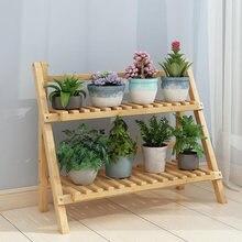 Бамбуковая деревянная складная подставка для цветов на балконе