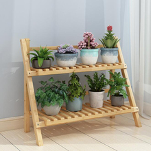 Bamboo wood folding flower stand balcony living room flower pot shelves indoor floor flower display stand 2/3/4 layer