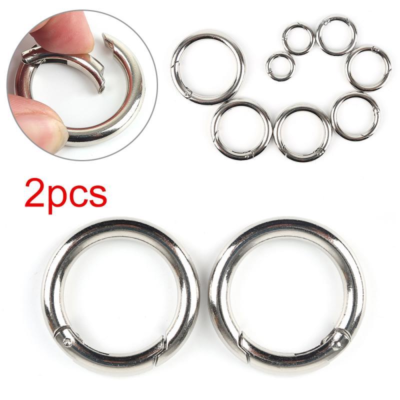 Round Push Gate Snap Open Hooks Spring Ring Key Chain Carabiner Purses Handbags Round Push Trigger Snap Hooks Plated Zinc Alloy