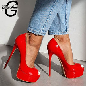 Image 2 - GENSHUO 14CM Heels Brand Shoes Women Platform High Heels Pumps Peep Toe Patent Leather Red Party Wedding Shoes Sexy Fetish Heels