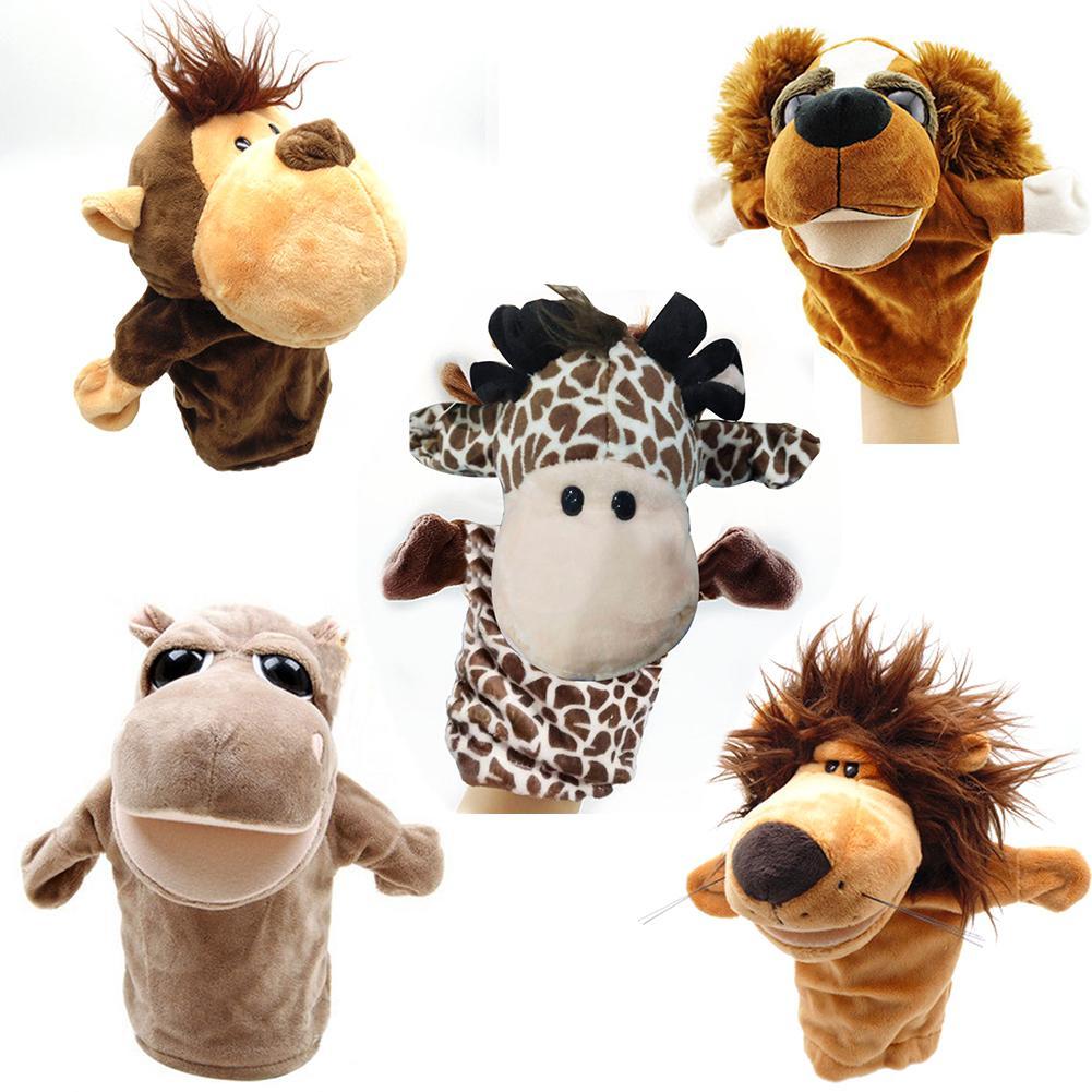 Fun And Interactive Toy Cartoon Animals Monkey Dog Lion Stuffed Plush Hand Puppet Xmas Kid Children Baby Gift