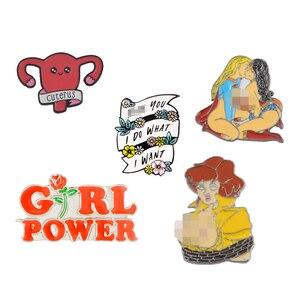 Feminism Liberalism Hurray ! Women's Feminist Motivational Female Red Rose Girl Power Uterus I Do What I Want Enamel Brooch Pin(China)