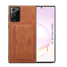 Luxury Single Card Slot Leather Wallet Phone Case for Samsung Note S 9 10 20 21 Plus Ultra 5G Desktop Stand