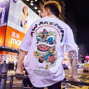 T-Shirt Half-Sleeves Japanese Hip-Hop Street Chinese-Style Special Men Women Summer Lovers