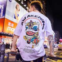 Camiseta especial japonesa de manga corta para hombre y mujer, camiseta de verano hip hop estilo chino para amantes con media manga