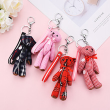 Grid Clothes Jointed Teddy Bear With Bow/Button Stuffed Doll Urso De Pelucia Oso Dolls cellphone bag key chain