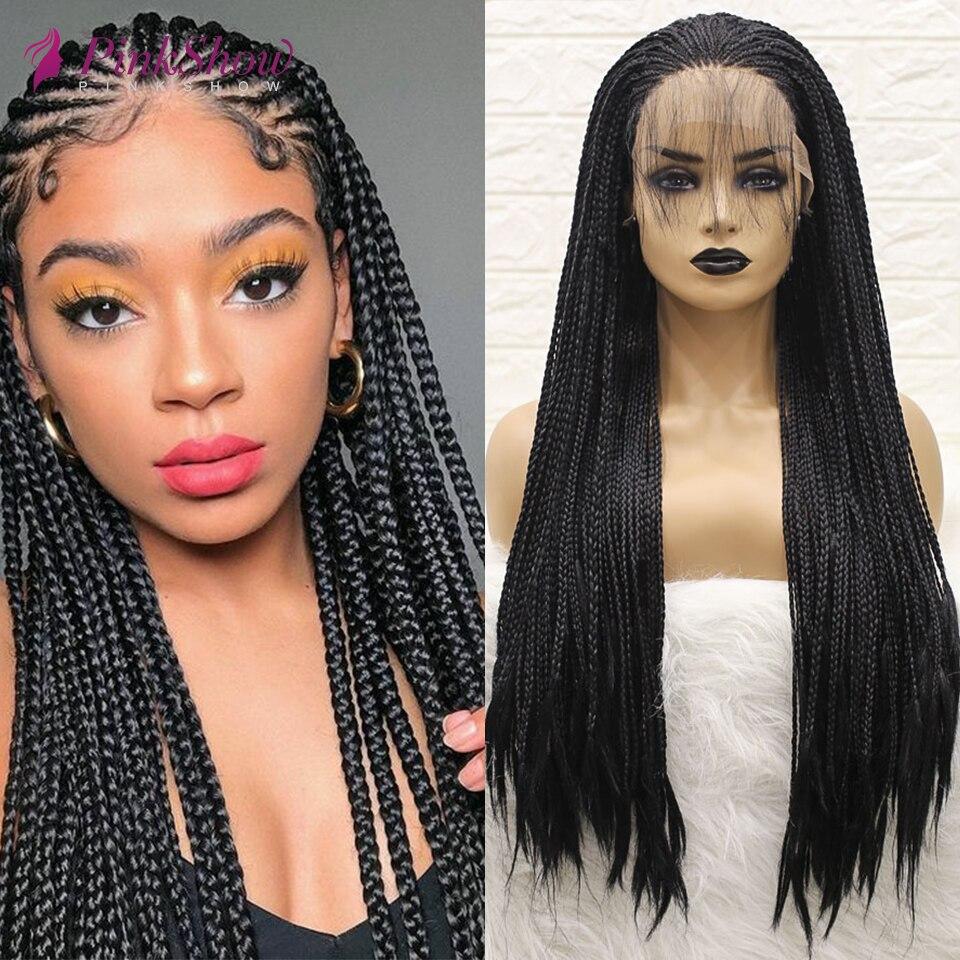 PINKSHOW Preto Perucas Trançadas Para As Mulheres Negras Peruca Longa Dianteira Do Laço Sintético Resistente Ao Calor de Fibra Natural Tranças Peruca Com O Bebê cabelo
