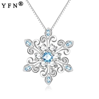 YFN 925 Sterling Silver Snowflake Necklace Pendants Silver 925 Jewelry Ketting Collar Blue&White Zircon Mom's Gift Women Jewelry