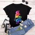 Sommer Baumwolle Frauen T-Shirt 5XL Plus Größe Nette 3D Finger Nagel Farbe Farbe Drucken Kurzarm Frauen T Tops Casual oansatz T-shirt