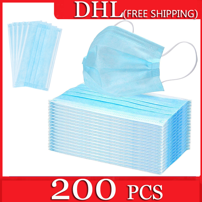200pcs 3-Ply Disposable Mask Antivirus Anti Dust Safety Masks Mouth Face Mouth Masks Respirator Free Shipping DHL Korea Italy US