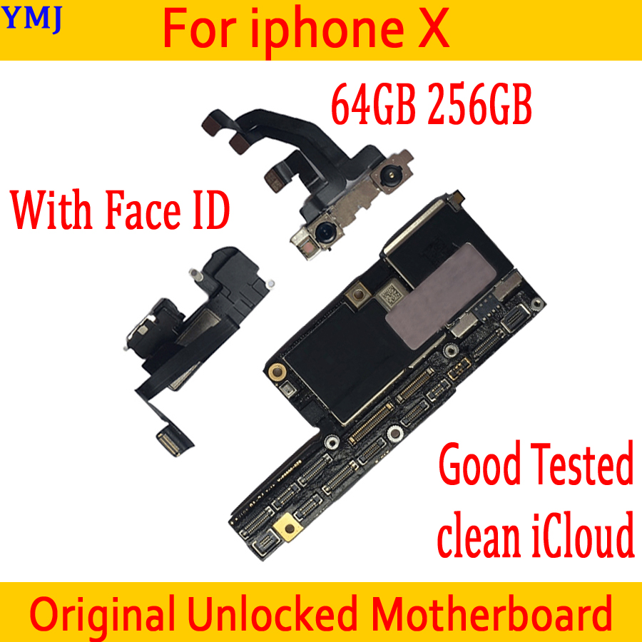 100% Good Working for <font><b>iphone</b></font> <font><b>X</b></font> <font><b>Motherboard</b></font> <font><b>with</b></font> <font><b>Face</b></font> <font><b>ID</b></font>,Original <font><b>unlocked</b></font> for <font><b>iphone</b></font> <font><b>X</b></font> Mainboard <font><b>with</b></font> Full Chips,64GB / 256GB image