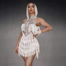 2019 vestido sexy com franja branca sem mangas, traje de alcinha sensual para aniversário, show de baile, vestido de peça única