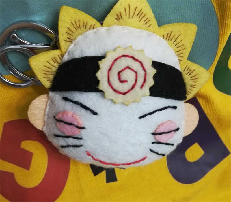 1 adet el yapımı keçe karikatür Anime Naruto Hokage kolye Uzumaki Naruto pirinç toplu anahtarlık dekor DIY bebek anahtarlık hediyeler sıcak