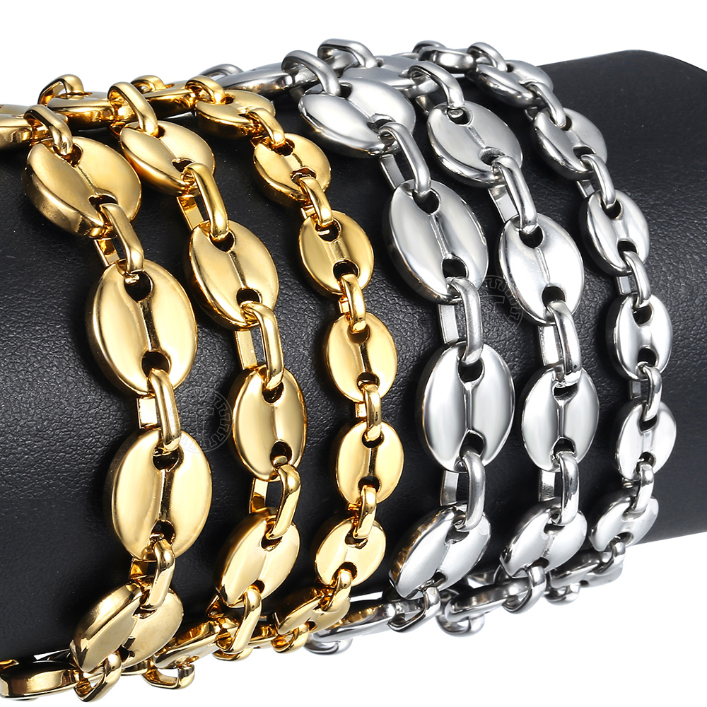 Stainless Steel Coffee Beans Marina Link Chain Bracelet for Men Women Hip Pop Homme Jewelry Gifts New Trendy 7/9/11mm KBM169