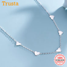 Charm Choker Necklace 925-Sterling-Silver jewelry Chain Trustdavis Heart Women Fashion