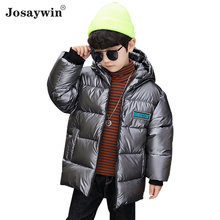 Jacket Kids Parkas Coat Hooded Teenagers Winter Children Print Boys for Thick Warm