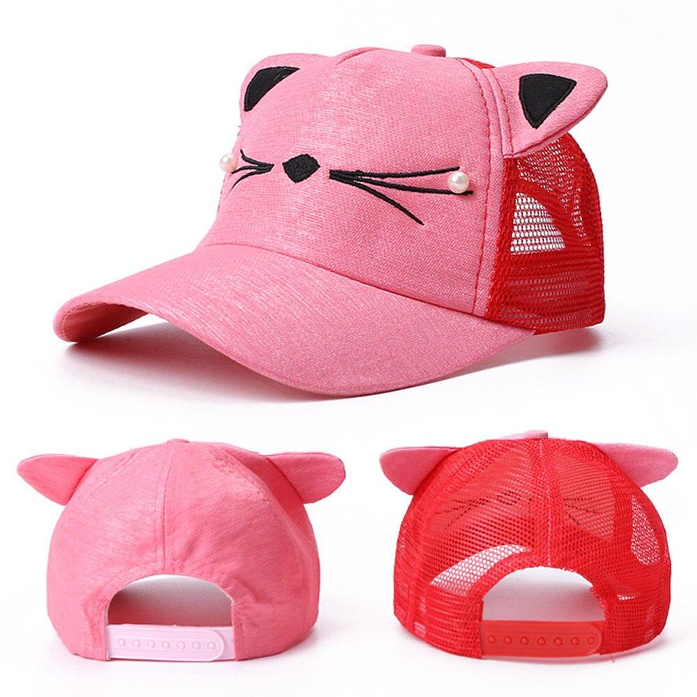 Summer Children Baseball Cap Adjustable Cute Embroidered Hat Cat Ears Snapback Cap Boy Hip Hop Hat Girl Pearl Kids Baseball Cap