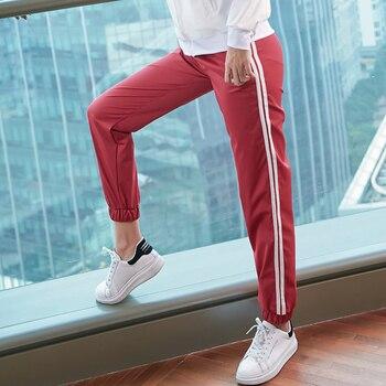 womens loose side stripe sports pants