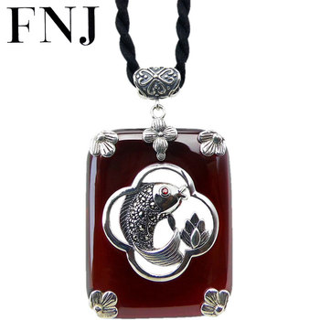 FNJ 925 Silver MARCASITE Fish Pendant for Jewelry Making 100% Original Pure S925 Sterling Silver Pendants Women Garnet