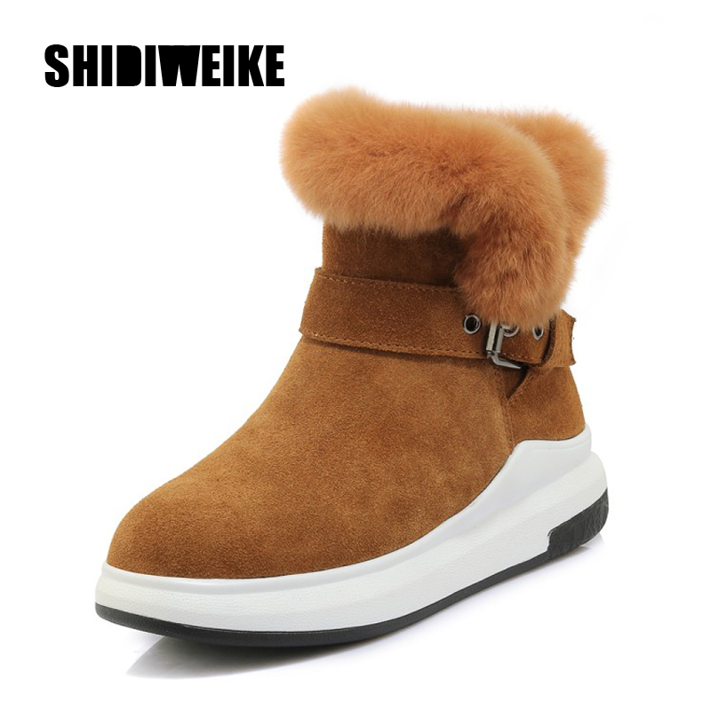 2020 new women brand Zipper snow boots Cow suede ankle boots winter fashion warm women boots shoes J868