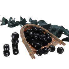 200 шт силиконовые бусины с буквами черные Детские Прорезыватели