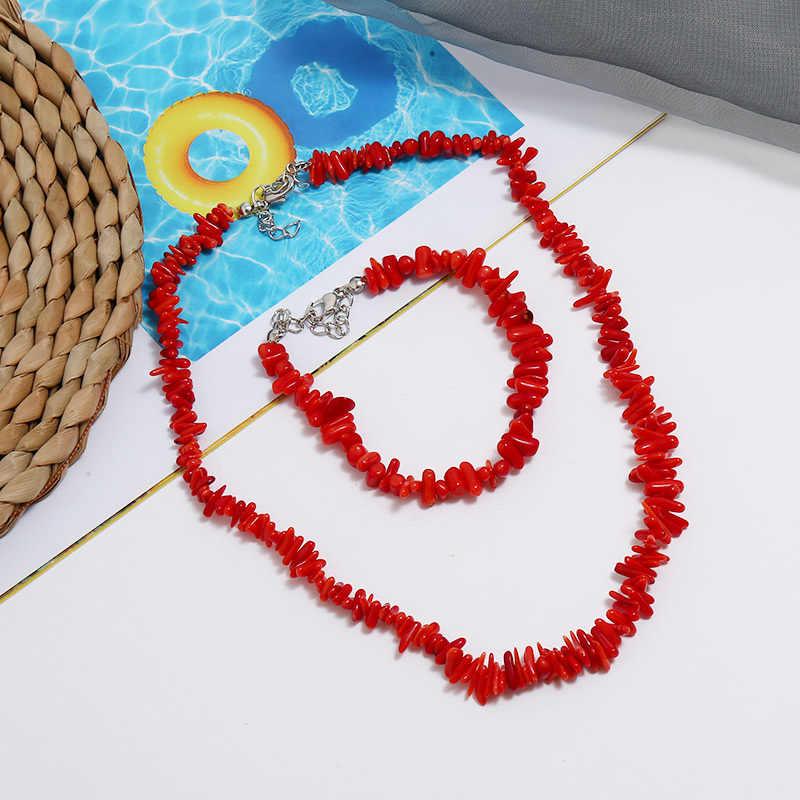2019 תכשיטי סטי הודי שרשרת וצמיד תכשיטי למסיבה אפריקאית אלמוגים תכשיטי סטים עבור חבר ארוך שרשרת שרשרת מתנה