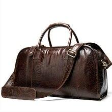 Bolsos De Viaje De cuero genuino para hombre equipaje De mano maletas para hombre Bolso De Viaje para Bolso grande De cuero Bolso De Viaje De cocodrilo