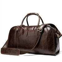Men's Genuine Leather Travel Bags Hand Luggage Men Suitcases Traveling Bag For Leather Duffle Big Bag Crocodile Bolso De Viaje