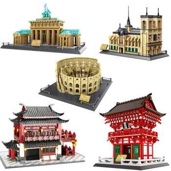 City Architecture Compatible Roman Colosseum Berlin Brandenburg Gate Japan Temple Notre Dame de Paris Building Blocks toys Gifts