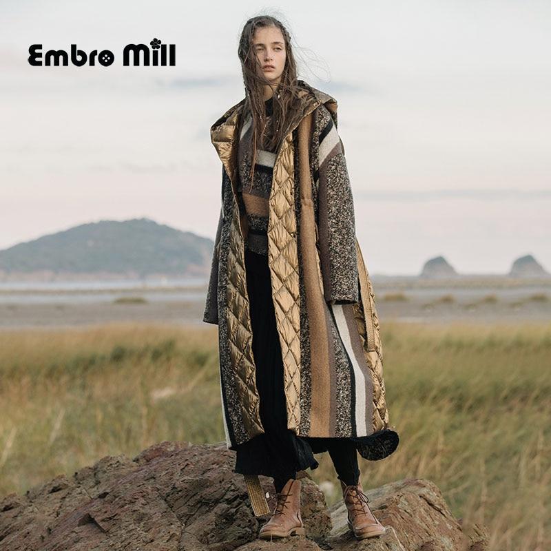 Winter Wool Splice White Duck Down Coat Indie Folk Style  Hooded Design  Luxury Colour Matching Down Jacket Women Coat S-L