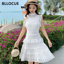 Bllocue Fashion Runway Ontwerp Zomer Hollow Out Lace Splice Gelaagde Taart Jurk Vrouwen Xiaofei Mouwen Elegant Party Dress(China)