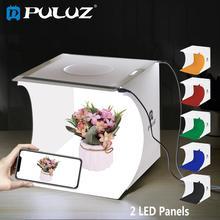 PULUZ מיניאטורי שולחן ירי תיבת צילום סטודיו תיבת אור עם 2 * LED Lightbox מפזר Softbox ערכת 6 צבע תפאורות