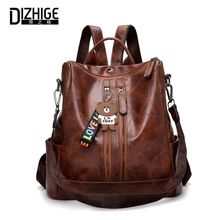 DIZHIGE Brand Vintage Large Capacity PU Women Backpacks Fashion High Quality School Bag For Teenager Girl Multifunctional Bags