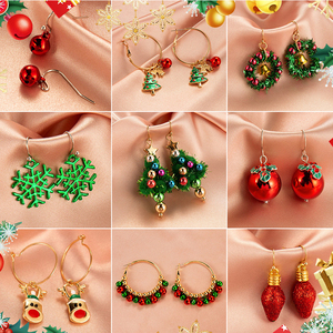 Peixin 12 styles Christmas Ornaments Creative Santa Claus Drop Earrings Fashion Simple Snowman Bell Women's Dangle Earrings Gift