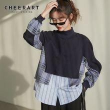 Hoodies Women Sweatshirt Pullover Patchwork Top Turtleneck Long-Sleeve Korean-Style CHEERART