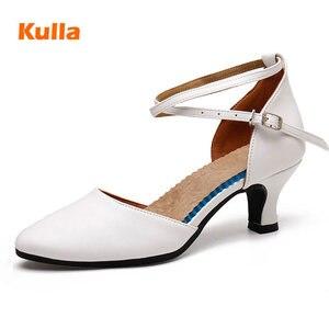 Image 1 - Salsa chaussures de danse latine femmes rouge bout fermé dames chaussures de danse de salon femme talons moyens 3.5cm/5.5cm Tango chaussures de danse