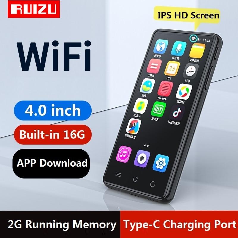 Новейший RUIZU H8 Android WiFi MP4 плеер Bluetooth 5,0 полный сенсорный экран 4 дюйма 16 Гб музыкальный видео плеер с FM, запись, электронная книга