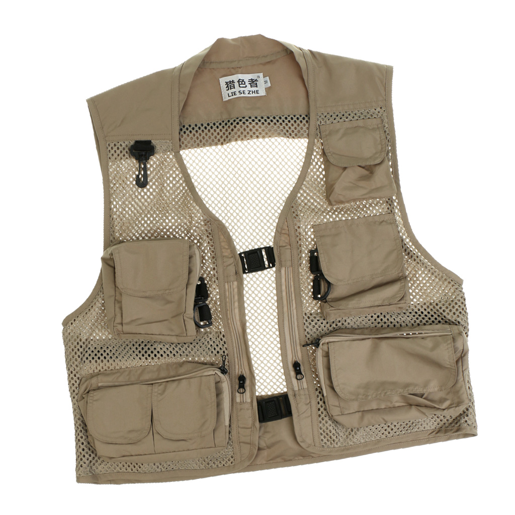 Fly Fishing Mesh Vest Mutil-Pocket Outdoor Fishing Hiking Travel Work Waistcoat