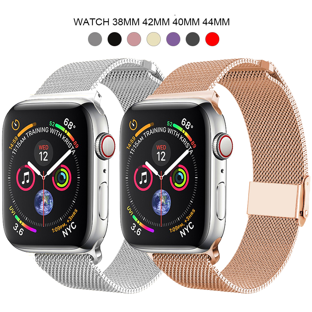 For Milanese Apple Watch Band 38mm 40mm 42mm 44mm Stainless Steel Strap Bracelet Pulseira Iwatch Metal Series 1 2 3 4 5