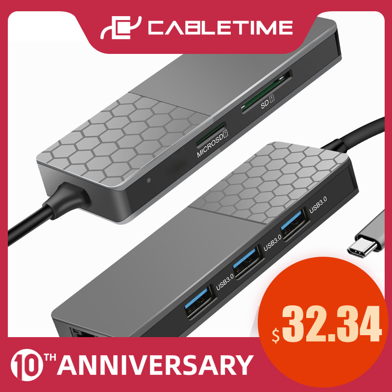 CABLETIME USB C HUB To USB3.0 Multi SD TF Card Lan Ethernet Mirror Hub Data Transmission For Macbook Laptop PC Dell Acer C286